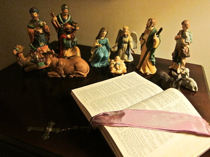 Bible with nativity